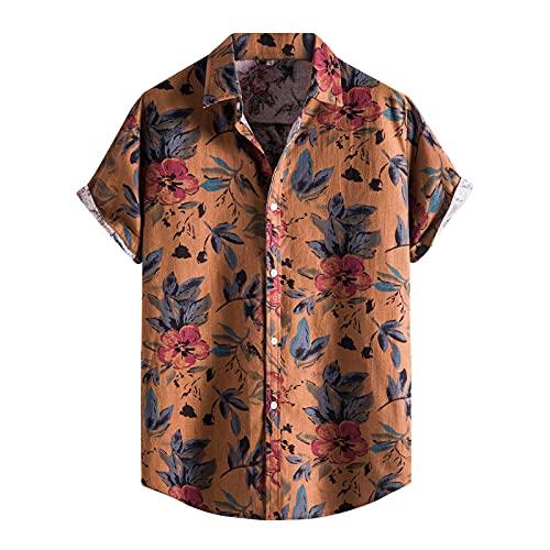 BIBOKAOKE Camisa de manga corta para hombre, camisa hawaiana de verano con solapa de Henley, corte regular, camisa fina, casual, camisa de flores, camisa de manga corta, Braun8., XXL