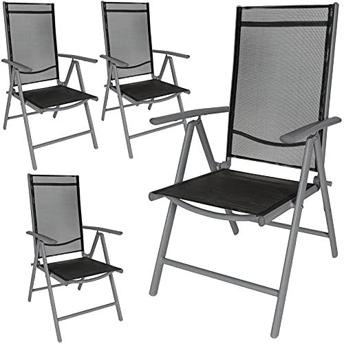 TecTake Juego de Aluminio Sillas de jardín plegable con reposabrazos (Antracita | 4 Sillas | no. 401634)