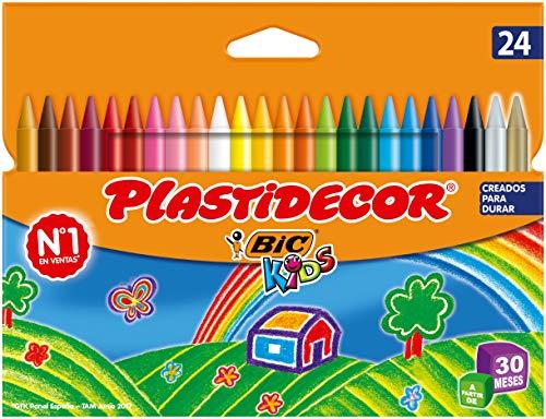 BIC Kids Ceras de Colores para Niños, Óptimo para material escolar,Plastidecor, Colores Vivos Surtidos, Material Escolar, 24 Ceras