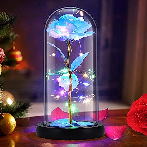 Gomyhom Rose Regalo para Nujeres Cumpleaños, Belleza y la Bestia Rosas, Arcoíris Rosa de Cristal Regalos para Decoraciones para Bodas, Regalos para Mamá, Abuela, Día De San Valentín, Navidad (Azul)