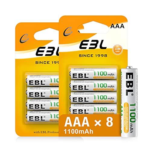 EBL 8PCS AAA Baterías Recargables, Baterías Recargables AAA 1100mAh 1.2V Ni-MH de Alta Capacidad con Descarga Constante, con Embalaje Nuevo