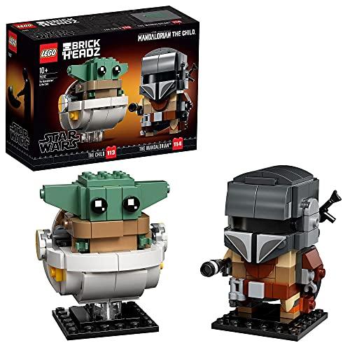 LEGO 75317 Star Wars Brick Headz El Mandaloriano y el Niño, Juguete de Construcción para Niños y Niñas +10 años