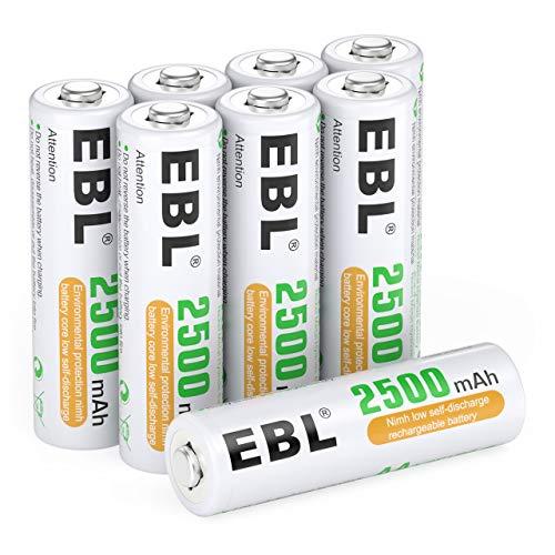 EBL 8 x Pilas AA Recargables 2500mAh Ni-MH 1200 Ciclos Precargadas