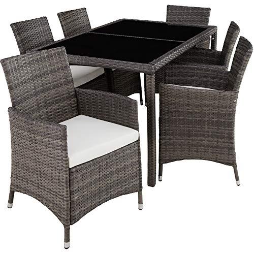 TecTake 403397 Conjunto de Muebles de Jardín, Set Ratán Sintético 6+1, Tornillos de Acero Inoxidable, Incl. Funda Completa, Terraza Patio Exterior, Gris