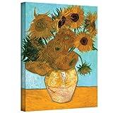 Arte Paredes jarrón con Doce Girasoles galería Lienzo Envuelto de café por la Noche de Vincent Van Gogh, 24por 32Pulgadas