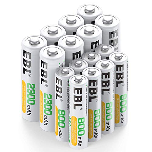 EBL 16 Pack AA AAA Pilas Recargables de 1,2V, 8 x Pilas AA Recargables 2300mAh y 8 x Pilas AAA Recargables 800mAh