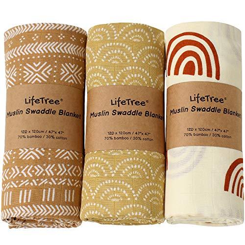 LifeTree Mantas Muselinas Bebe, Muselina Bebe de Bambú Algodon 120x120 cm, Pack de 3,Súper Suave Mantas Envolventes de Muselina