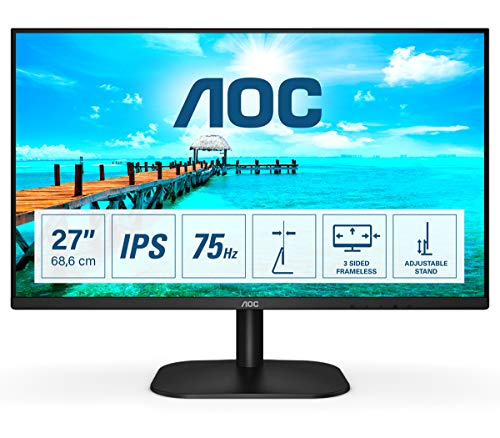 AOC 27B2H- Monitor de 27'Full HD (1920x1080, 75 Hz, IPS, FlickerFree, 250 cd/m, D-SUB, HDMI, VGA, Low Blue Light) Negro