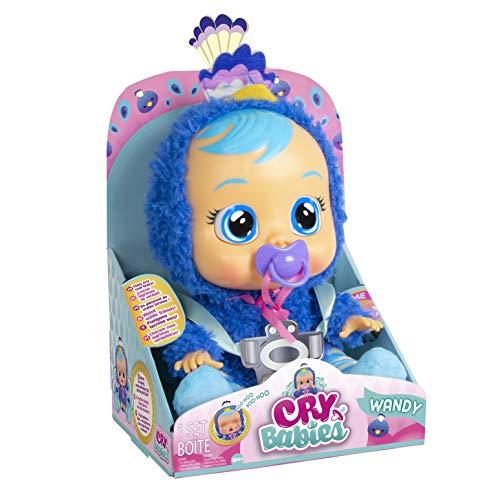 Bebés Llorones Wandy - Muñeca Interactiva que llora de verdad con chupete y pijama de Pavo Real Azul