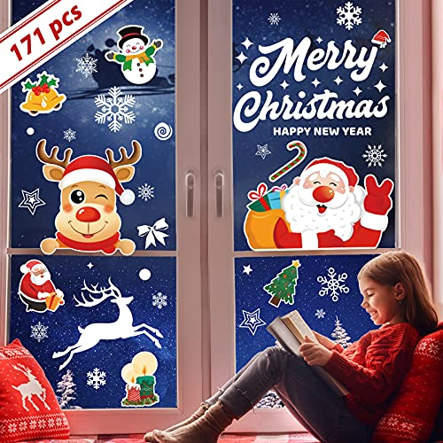 171 pegatinas navidad reutilizables, 7 hojas de pegatinas navidad para ventanas visible en ambos lados, vinilos navidad de PVC electrostático para adornos de navidad para escaparates