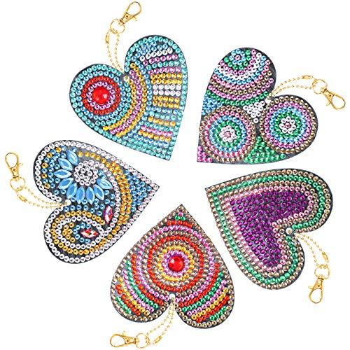 VETPW 5 Piezas 5D DIY Amor Corazón Colgante Llavero Pintura Diamante, Doble Cara Diamond Pasted Painting Keychain Kit Completo Punto de Cruz Diamante Arts Crafts para Monedero Mochila Bolso Decoración