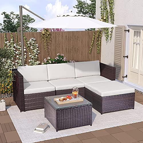 Gona Conjunto de jardín de 5 plazas, muebles de jardín de ratán Lounge, sofá esquinero, sofá convertible y mesa con tablero de cristal (marrón)