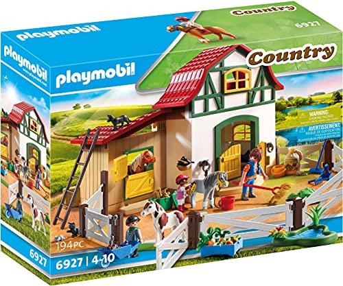 Playmobil-6927 Playmobil Figura de construcción Granja de Ponis con muchos Animales y Pajar, A partir de 4 años, multicolor (6927)