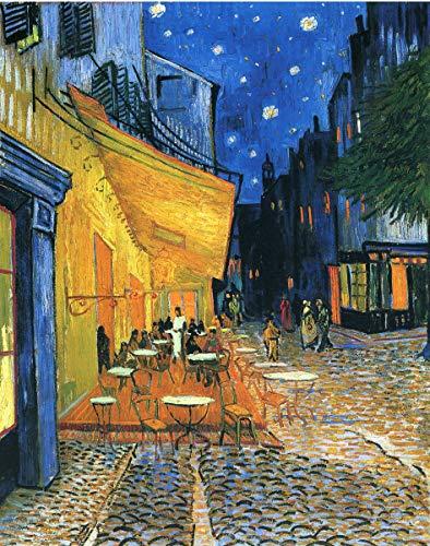 Wallbuddy Pintura de Vicente Van Gogh Terraza de Café por la Noche 1888 Pintura al Óleo Póster Obra y Arte de Van Gogh (50cm x 70cm)