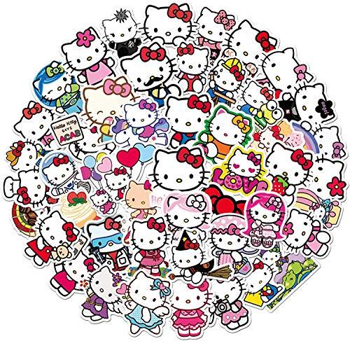 50pcs Hellokitty Sticker Pack Vinilo Pegatinas para portátiles, botellas de agua, equipaje, monopatín, PS4, Xbox one, Iphone, los mejores regalos para adultos, adolescentes, niños y niñas.Calcomanías