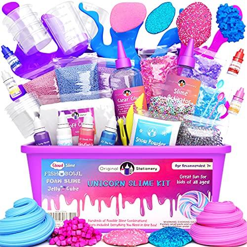 Original Stationery Unicorn Slime Kit suministros para niñas que hacen limo [todo en una caja] Los niños pueden hacer unicornio, purpurina, nube esponjosa, masilla de flotación, rosa