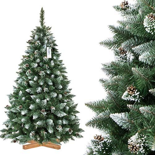 FairyTrees Árbol de Navidad Artificial, Pino Verde Natural Cubierto de Nieve, PVC, con piñas Naturales, Soporte de Madera, 180cm, FT04-180