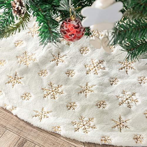 Tenrany Home Falda de Árbol de Navidad, Blanco Peluche Christmas Tree Skirt Felpa Plata Copos de Nieve Base de Árbol de Navidad para la Navidad año Nuevo Vacaciones Decoración(Gold, 36 Inches)