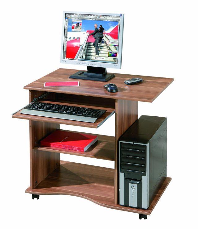 Mesa de escritorio para ordenador color nogal barato for Mesas de ordenador pequenas