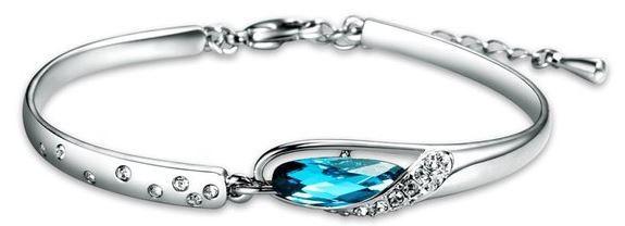 mujer-pulsera-brazalete-chapado-oro-blanco-lagrima-cristal-azul